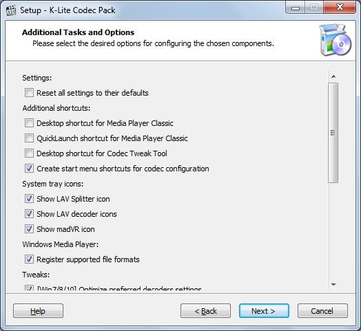 установка K-Lite Codec Pack